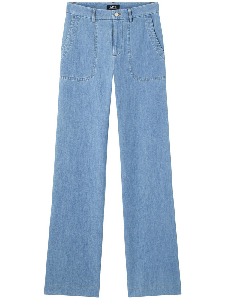 A.P.C. Seaside Wide Cotton Denim Jeans in blue