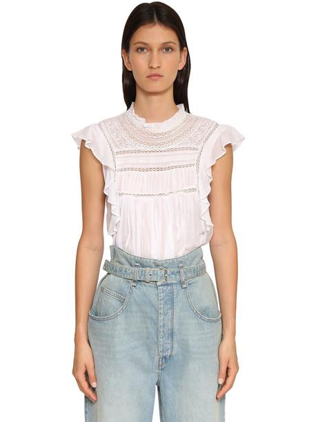 ISABEL MARANT ÉTOILE Vivia Ruffled Cotton Shirt in white