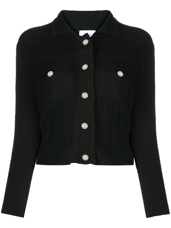 Barrie ribbed panel knitted cardigan in black
