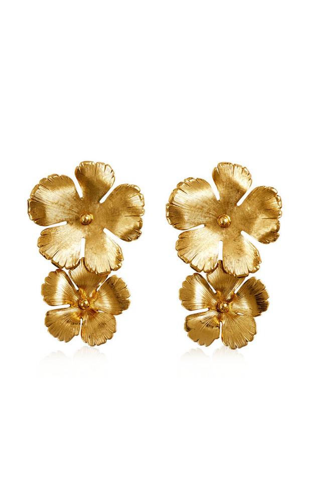 Jennifer Behr Collette Floral Brass Drop Earrings in gold