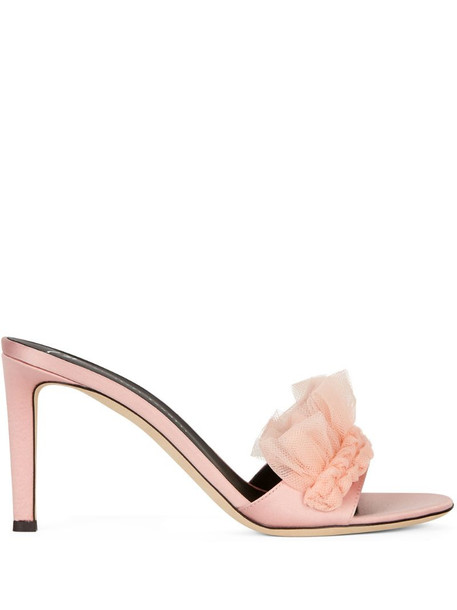Giuseppe Zanotti tulle applique sandals in pink