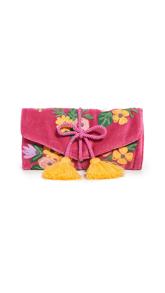 Shopbop Home Shopbop @Home Floral Embroidered Jewelry Roll in fuchsia