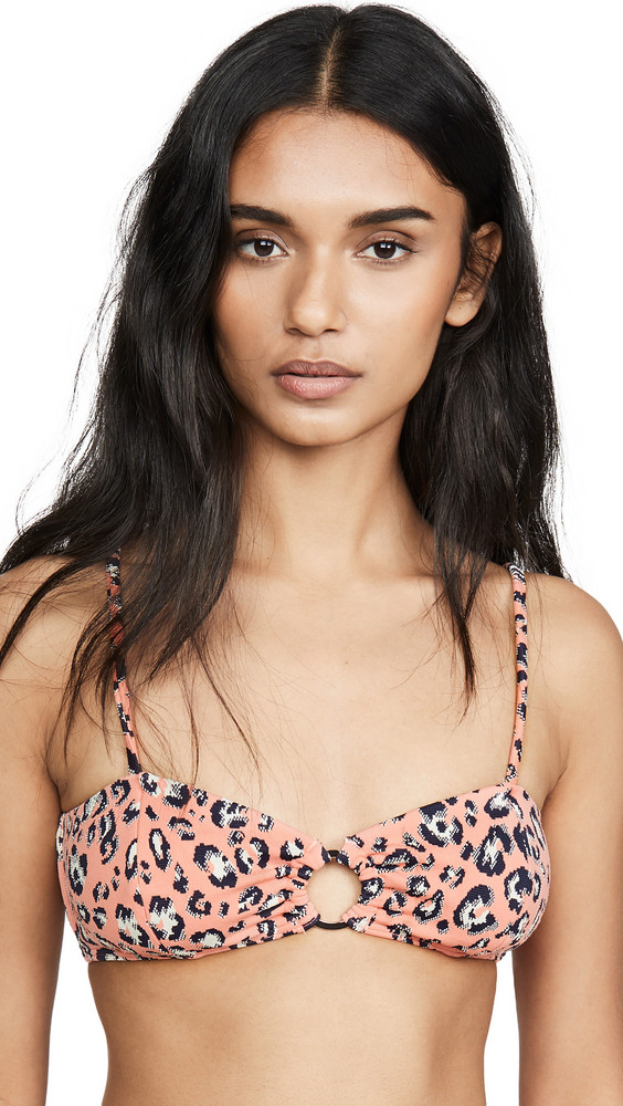 Suboo Cora Ring Front Bralette in coral / leopard