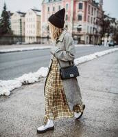 dress,shirt dress,plaid dress,maxi dress,white boots,combat boots,plaid,grey coat,zara,black bag,black beanie