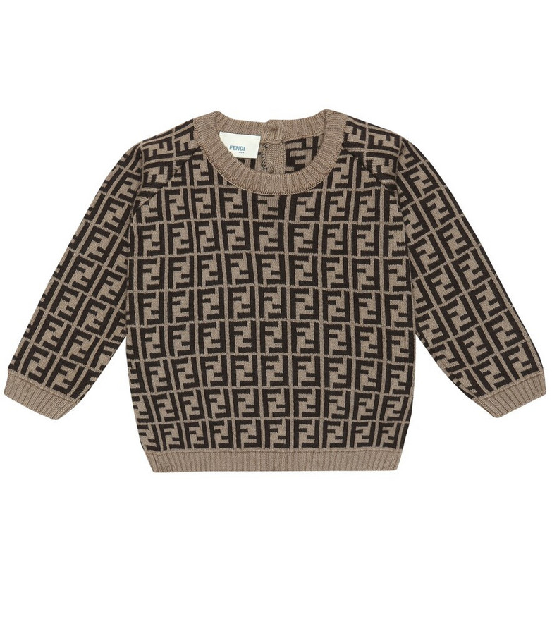 Fendi Kids Baby FF-jacquard sweater in brown