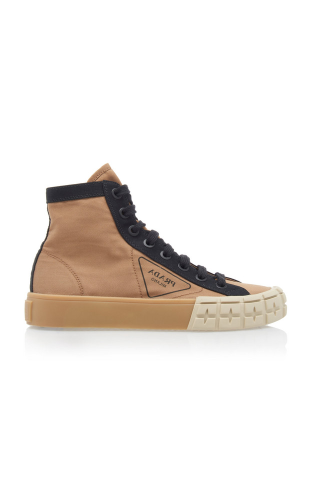 Prada Two-Tone Gabardine High Top Sneakers Size: 37 in neutral