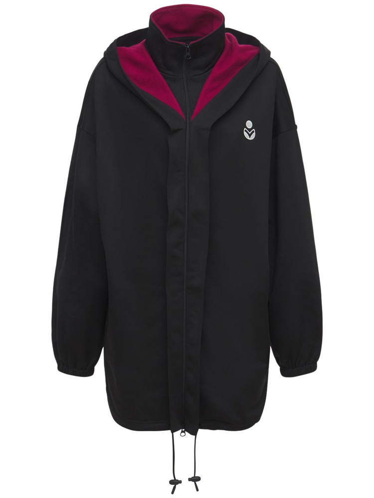 ISABEL MARANT ÉTOILE Isla Logo Tech & Cotton Short Jacket in black