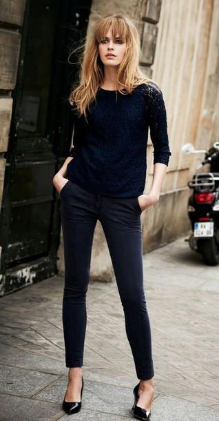 blouse top t-shirt blue pants pants blue pants blue pants