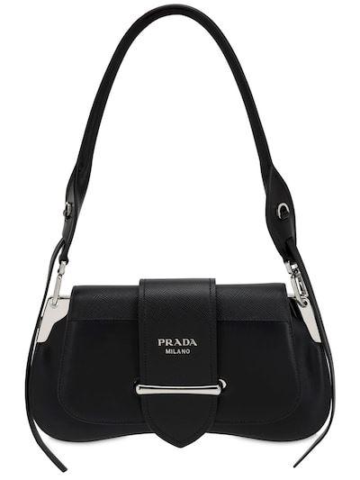 PRADA Sidonie Grained & Smooth Leather Bag Black