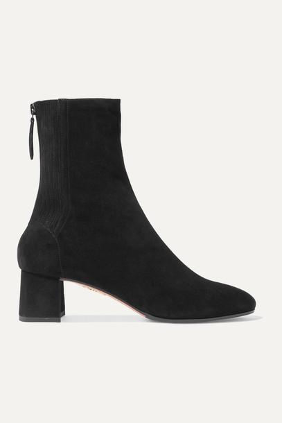 AQUAZZURA - Saint Honoré 50 Suede Sock Boots - Black