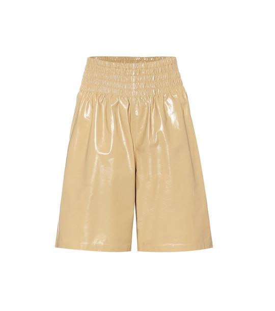 Bottega Veneta Leather shorts in yellow