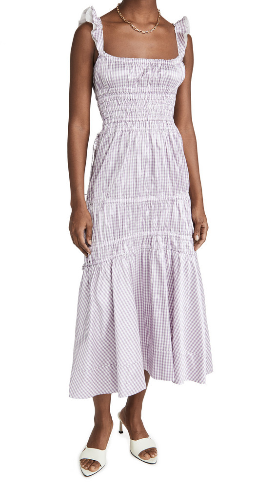 Brock Collection Abito Prisca Gingham Dress in ivory / purple