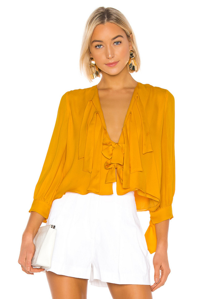 Cynthia Rowley Tennessee Tie Front Top in yellow