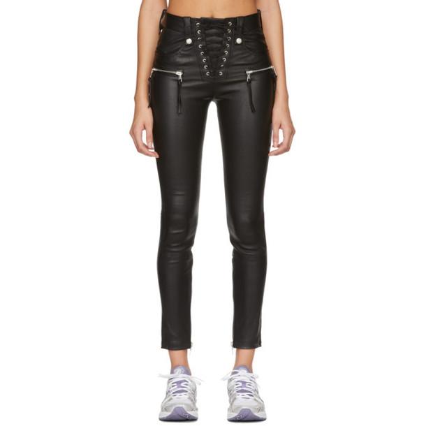 Unravel Black Plonge Leather Corset Pants