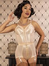 underwear,white,tight,extremely tight,shapewear,corset,girdle,bustier,one piece,hook and eye,shoulder straps,tight waist,vintage,curvy,Pin up,tummy flattening,firm control,ultra tight,detachable suspenders,satin,waist cincher,cone bra,cone bustier,cone boobs,cone breasts,sleeveless,bodysuit,body,camel toe,cameltoe,faja,hooks,very short,short,peach,very tight,waist training,high waisted