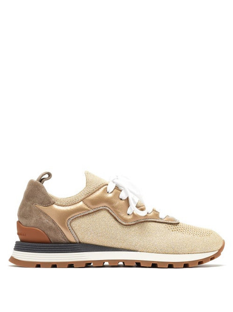 Brunello Cucinelli - Metallic Leather-trimmed Trainers - Womens - Gold