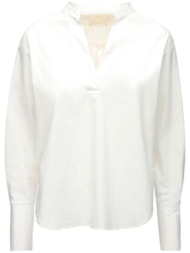 FORTE FORTE V Neck Cotton Poplin Shirt in white
