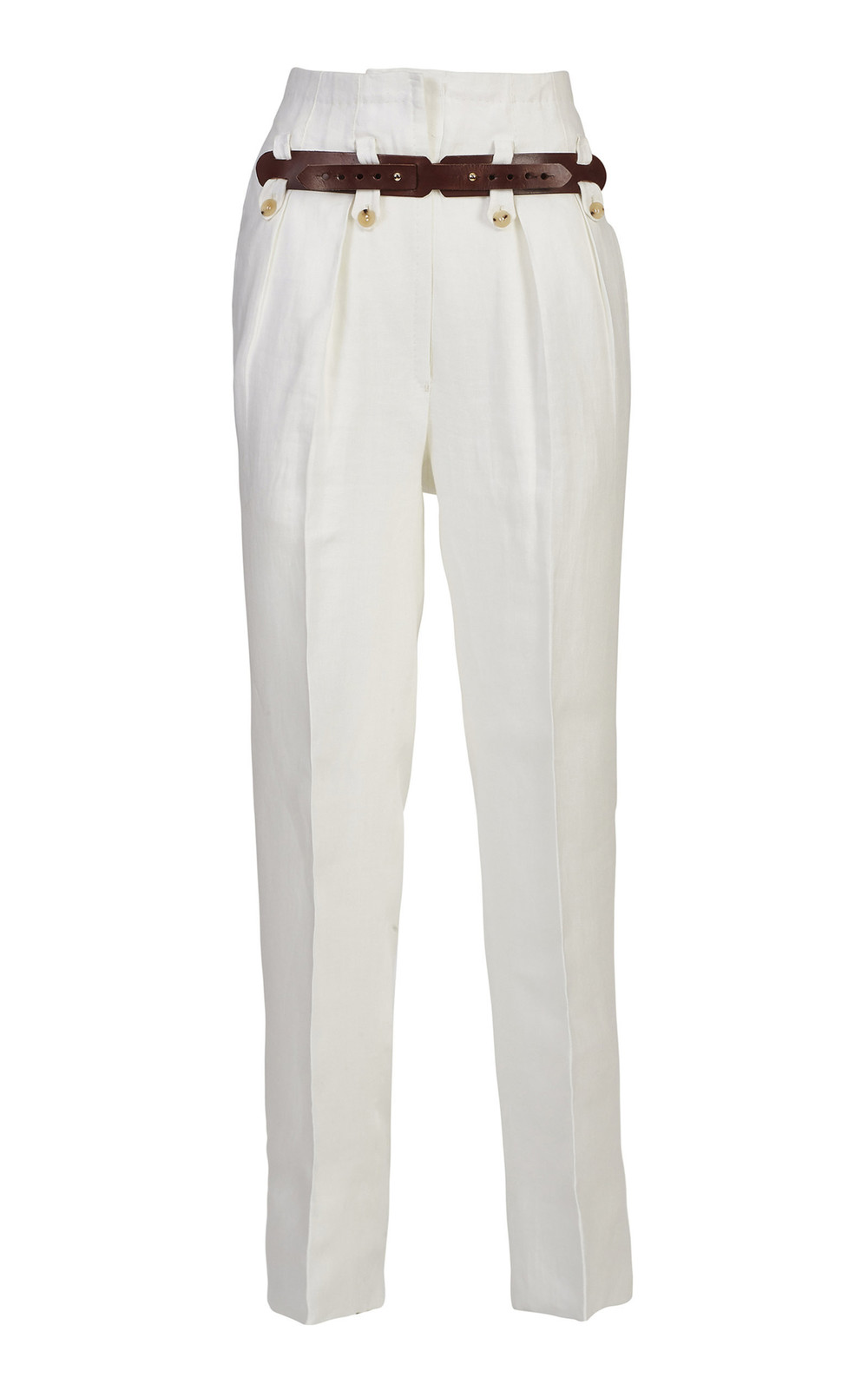 Giuliva Heritage Collection Belted High-Waisted Linen Pants in white