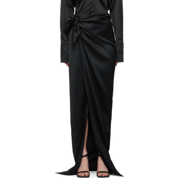 Balenciaga Black Satin Wrap Skirt