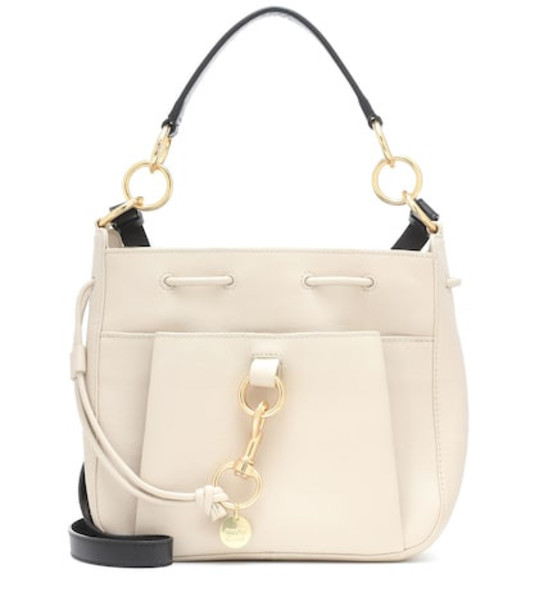 See By Chloé Tony Small leather bucket bag in beige
