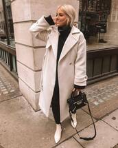 coat,white coat,long coat,wool coat,topshop,double breasted,white boots,ankle boots,black skinny jeans,black sweater,zara,black bag