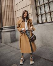 shoes,sneakers,acne studios,grey jeans,skinny jeans,long coat,beige coat,chloe bag,white shirt