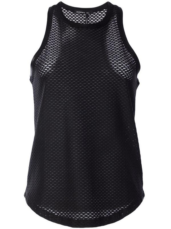 Koral mesh tank top in black