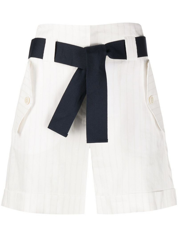 Eleventy striped-print bermuda shorts in white