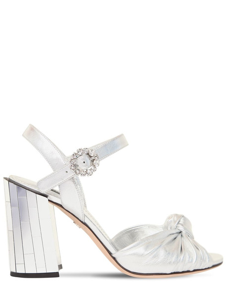 DOLCE & GABBANA 100mm Keira Leather & Mirror Sandals in silver