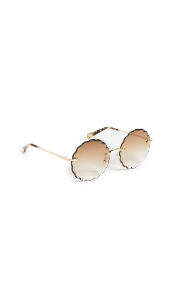 Chloe Rosie Scalloped Sunglasses in brown / gold