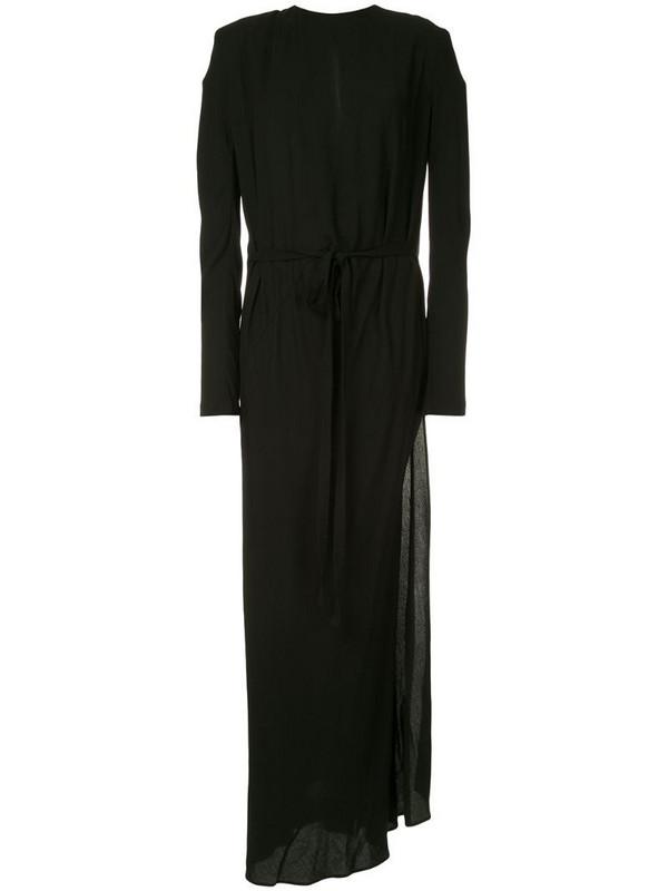 Haider Ackermann tie waist long dress in black