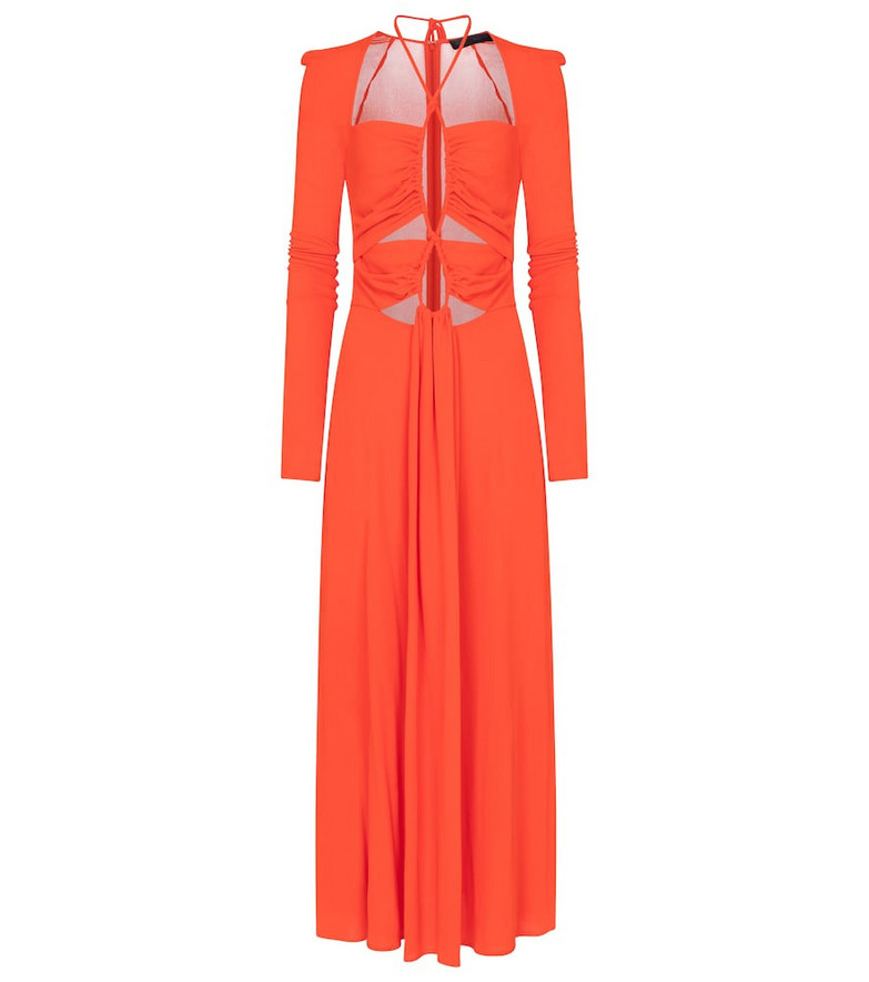 Proenza Schouler Drawstring crêpe jersey maxi dress in orange