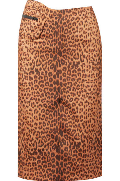 Commission - Fanny Leopard-print Satin-twill Skirt - Leopard print