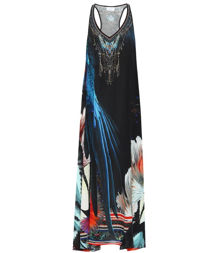 Camilla Floral silk maxi dress in black