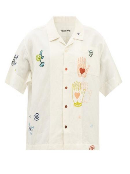 Story mfg. Story Mfg. - Nice Trip Short-sleeved Organic-cotton Blend Shirt - Womens - Ivory