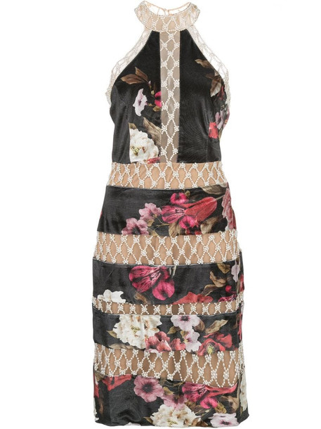 PatBO floral print dress in black