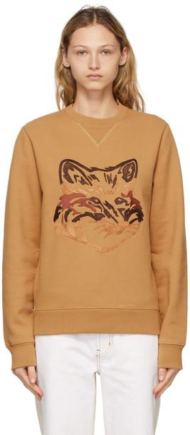 Maison Kitsuné Maison Kitsuné Tan Big Fox Embroidery Sweatshirt in camel