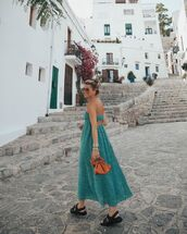 dress,green dress,zara,flat sandals,bag
