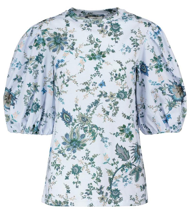 Erdem Theodora floral cotton top in blue