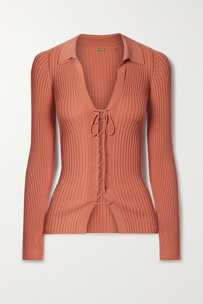 Cult Gaia - Faye Lace-up Ribbed-knit Cardigan - Red