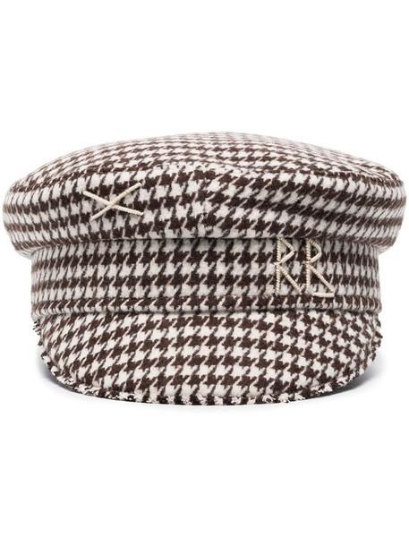 Ruslan Baginskiy brown houndstooth wool baker boy hat