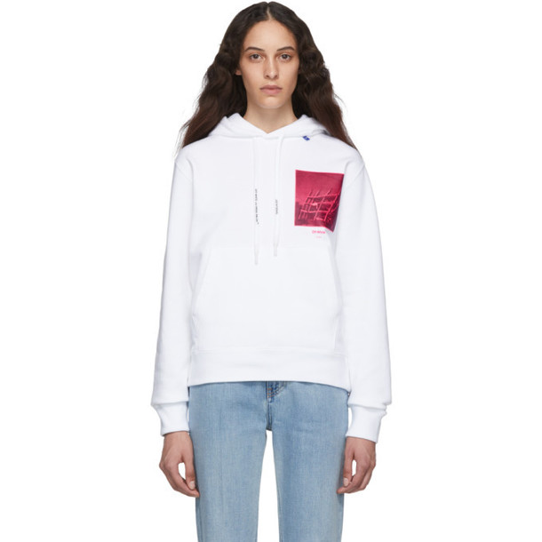 Off-White White and Pink Halftone Arrows Slim Hoodie