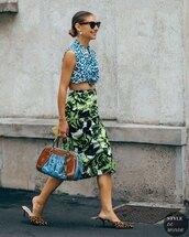 skirt,midi skirt,floral,prada,shirt,mules,leopard print,bag