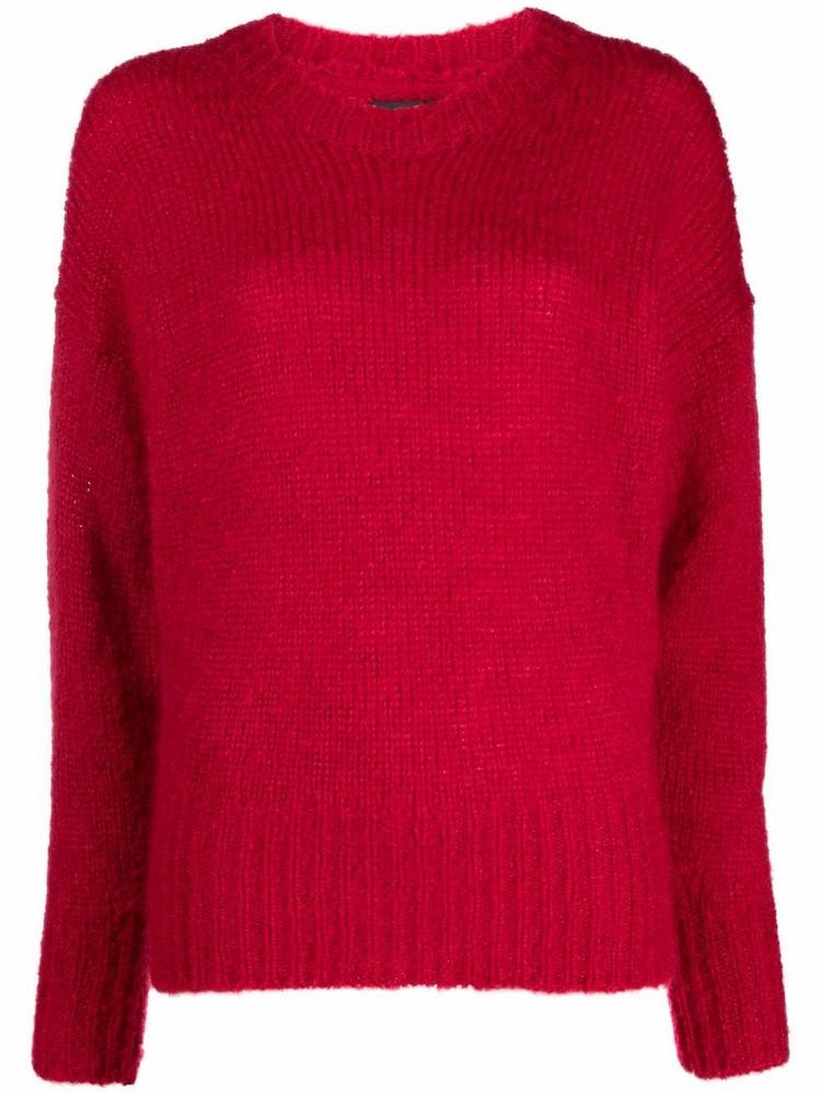 Isabel Marant textured round neck jumper in red