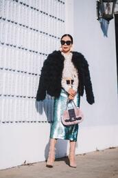 hallie daily,blogger,jacket,skirt,shoes,blouse,sunglasses,bag,belt,make-up,jewels