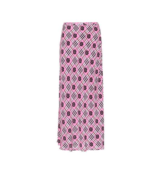 Rixo Kelly printed midi skirt in pink