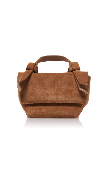 Acne Studios Musubi Milli Knotted Suede Shoulder Bag in neutral