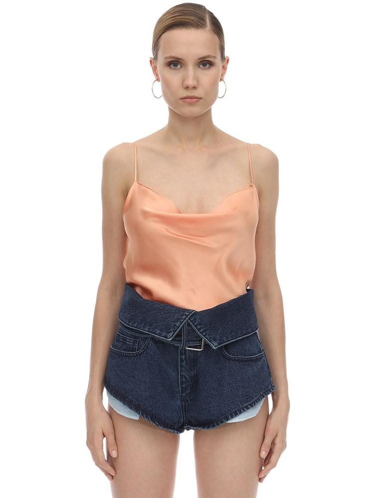 MARQUES'ALMEIDA Draped Silk Satin Slip Top in orange / pink