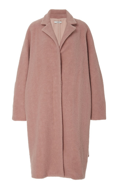 Vince Belted Oversized Bouclé Coat in pink
