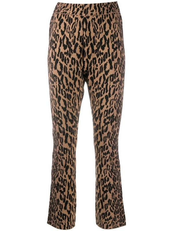 DVF Diane von Furstenberg slim leopard trousers in brown